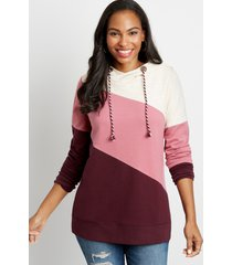 maurices womens burgundy colorblock pullover hoodie red