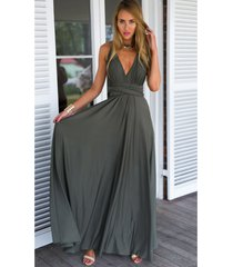 dark gray sexy women convertible wrap maxi dress