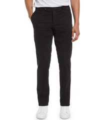 men's big & tall nordstrom trim straight leg stretch flat front chino trousers, size 46 - black