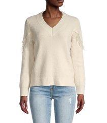 design history women's v-neck fringe-trim ribbed sweater - cream - size l