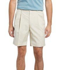 men's berle prime pleated poplin shorts, size 35 - beige