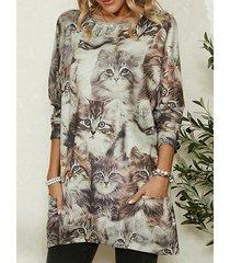 camicetta da donna casual a maniche lunghe con stampa gatto carino