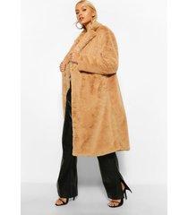 lange jas faux fur met enkele knoop, camel