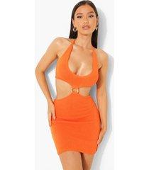 gebreide jurk met o-ring detail en uitsnijding, tangerine