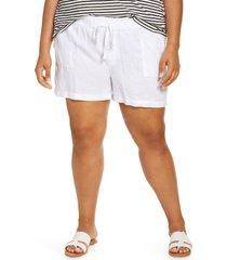 plus size women's caslon linen shorts, size 1x - white