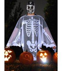 halloween skeleton skull party dress mesh cape