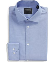 men's big & tall nordstrom men's shop extra trim fit non-iron dobby dress shirt, size 18 - blue