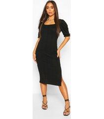 nauwsluitende ribgebreide midaxi jurk met pofmouwen, zwart