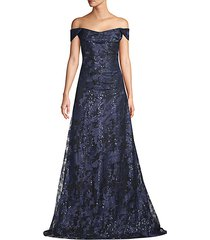 off-the-shoulder sequin embroidered gown
