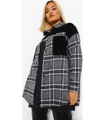 petite oversized geruite corduroy blouse met zakken