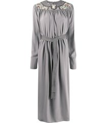 stella mccartney floral-panel belted midi-dress - grey