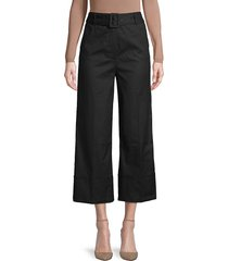 frame denim women's belted cropped pants - noir - size 2