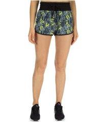 shorts vestem estampado - feminino - cinza escuro/amarelo