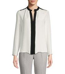 contrast-trimmed silk top