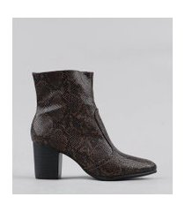 bota feminina animal print marrom