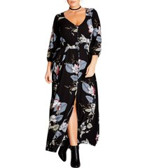 plus size women's city chic blossom maxi dress, size x-small - black