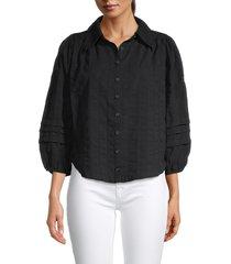 free people women's happy days puff-sleeve shirt - black - size xl