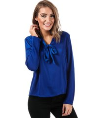 only womens mona pussy bow blouse size 12 in blue