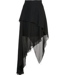 amiri plumetisse asymmetric long skirt - black