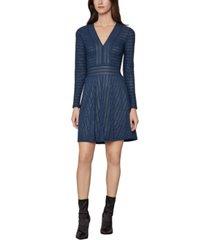 bcbgmaxazria tonal-striped fit & flare dress