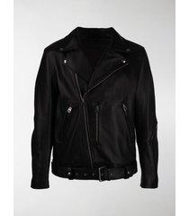 acne studios off-centre zipped biker jacket