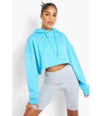 gerecyclede korte hoodie, blue