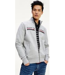 tommy hilfiger men's embroidered logo zip sweatshirt medium grey heather - xl