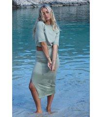 josefine hj x na-kd ribbstickad kjol med slits - green
