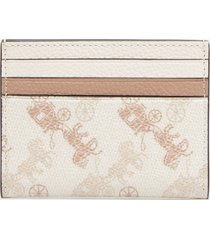 coach women's horse and carriage flat card case - chalk taupe
