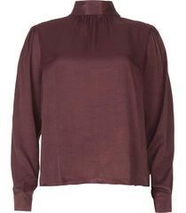 blouse met strikkraag toline  wijnrood
