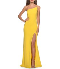 women's la femme one-shoulder jersey gown, size 0 - yellow