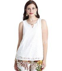 blusa con accesorio en escote blanco lorenzo di pontti