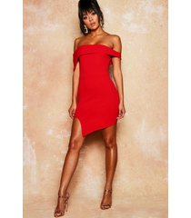 asymmetric fold over bodycon dress, red