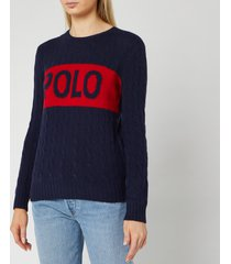 polo ralph lauren women's juliana logo long sleeve sweater - hunter navy/fall red - l