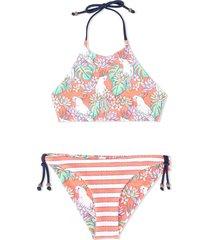 sunuva reversible jungle stripe halter bikini - multicolour