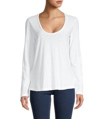 james perse women's scoop-neck top - white - size 4 (xl)