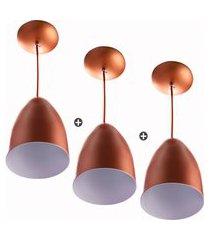 kit 3 lustre pendente cone de alumínio 20x14cm cobre