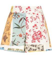 multicolored paneled high-waisted shorts
