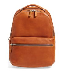 men's shinola runwell leather laptop backpack - brown
