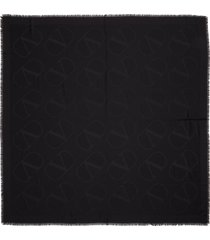 women's valentino vlogo jacquard silk & wool scarf, size one size - black