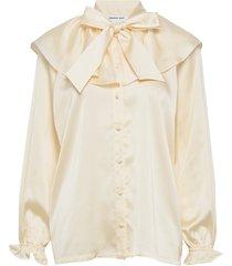 feature collar pussy-bow blouse blus långärmad creme designers, remix