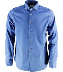 borriello napoli borriello collar shirt, hydro washed in bleached denim with hand-sewn mother-of-pearl buttons