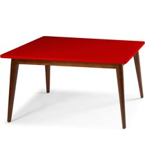 mesa de madeira retangular 160x90 cm novita 609-2 cacau/vermelho - maxima
