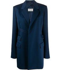 maison margiela strap tailored blazer - blue