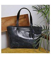 leather shoulder bag, 'beautiful elegance in black' (mexico)
