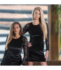 ambra kleding black lace jurk zwart kant l/mouw 8405
