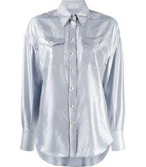 brunello cucinelli silk western shirt - blue
