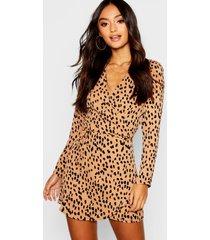 petite dalmatian print wrap shift dress, camel