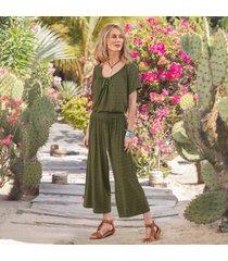 sundance catalog women's felicity jumpsuit petite in dill print petite xs