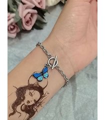 brief butterfly alloy chain bracelet